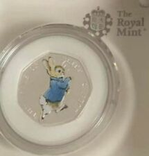 2017 PETER RABBIT COLOURED SILVER PROOF 50p  Fifty Pence 30,000 LIMITED COA