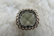 925 Sterling Silver 9CT Gold Smokey Quartz Chequerboard Facet Cut Ring Size N