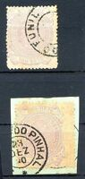 BRAZIL Yvert # 70, 2 Stamps, DIFFERENT CANCELS, VF