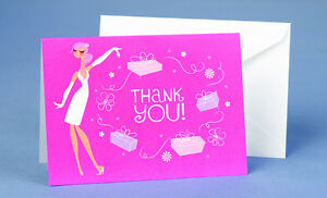 Pink Sophisticated Bride Bridal Shower Thank You Notes 25/pk
