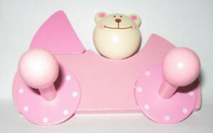 "Bieco 23061552 Wardrobe "" Bear "" Pink 13x9 CM 2 Wood Hook New! #"