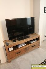 NEW Rustic Recycled Elm Timber 2 Drawer Entertainment Unit Natural Colour