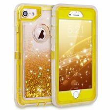 For IPhone 8 /7 Glitter Gold Bling Sparkle Flowing Liquid Case fit Otterbox Clip