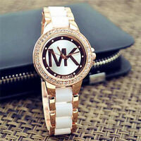 Fashion women men diamond crystal ceramics stainless steel wrist quartz watches