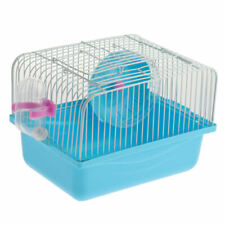 Small Pet Hamster Cage with Food Dish & Drink Dispenser &Exercise Wheel Blue