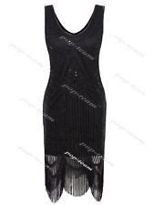 Evening Fringed 1920s Flapper Beaded Dress Charleston Gatsby Party Costume M US 8-10 / AU 10-12 Black Dresses Only