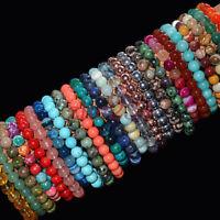 Handmade Natural Gemstone Round Beads Stretch Bracelet 4mm 6mm 8mm 10mm beauty