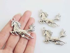 10 Tibetan Silver Horse Charms Pendants Beads for Jewellery Making Findings 42mm