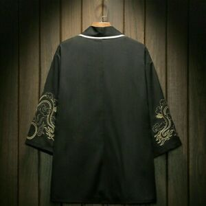 Mens Embroidery Kimono Jacket Coat Cardigan Outwear Japanese Retro Chinese Tops
