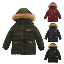 Boys Puffer Hooded Fur Lined Winter Outwear Parka Jacket Kids Thick Padded Coat