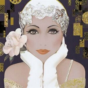 Art Deco  Flapper Lady ~ Blank Birthday/all Occasion Card - Bejewelled Cloche