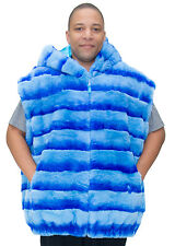"Man's Light Blue dyed Rex Rabbit Fur Zip 32"" Vest with Hood – size 4XL"