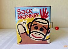 Schylling Jack in the Box Sock Monkey Tin Toy Pop Goes The Weasel 2008