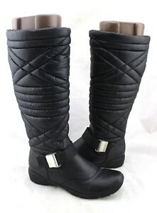 NATURALIZER Rayne Black Smooth Quilted Strap Knee High Winter Boots 6.5 NEW
