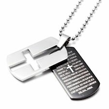 USA Gift Unisex's Man Men's Stainless Steel Cross Bible Pendant Tag Necklace