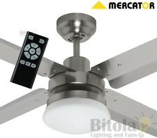 "NEW MERCATOR SIROCCO DC CEILING FAN WITH LIGHT & REMOTE METAL 52"" BRUSHED CHROME"