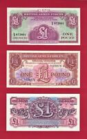 UK BRITISH ARMED FORCES (BAF) MILITARY UNC NOTES (ONE POUND SET) SERIES 2, 3 & 4
