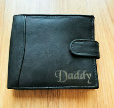 Mens Black Soft Leather Wallet with Daddy Engraved on the Front Fathers Day Gift