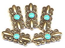 5 - 2 HOLE SLIDER BEADS LARGE BRASS PLATED SCALLOPED TURQUOISE ENAMEL CENTER