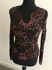 Phase Eight black and plum lace top size UK12