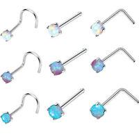 3Pcs Surgical Steel Prong Set Gem Opal L Bend Nose Stud Ring Body Piercing New