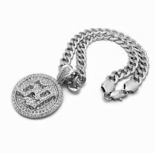 """20"""" Miami Cuban Choker Chain Bling Necklace Hip Hop Iced 69 Spinner Pendant &"""