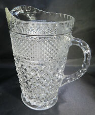 Big Heavy Cut Glass PITCHER Vintage Thick Clear Table Serving Dining Vtg