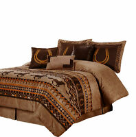 7pcs Southwestern Cabin Lodge Wild Horses Microsuede Brown Comforter Set, Queen