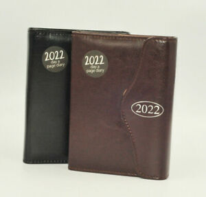 1x Black/Brown 2022 A5 Faux Leather Diary Day a Page Journal Office Planner