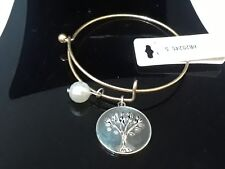 Hammered PatinaLove Faith Engraved Gold Heart Charm Bangle Bracelet Fashion Jewelry for Women Man