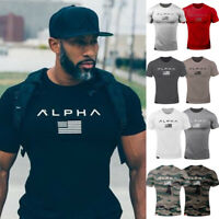 Mens Alpha Gym T Shirt Alphalete Bodybuilding Fitness Workout Muscle Tops Sports