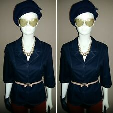 Vintage 1980's/1950's Style Navy Cotton Jacket by Country Collection. Size 12.