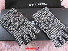CHANEL Embellished CC Fingerless Quilted Black Ivory Tweed Gloves