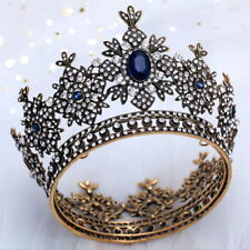 8cm High Antique Brass Blue Crystal Bridal Party Pageant Prom Round Crown