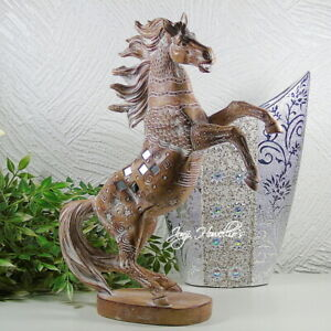 Large Horse Rearing Ornament Figurine Statue Carved Sandstone Effect Mirror 32cm