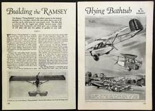 Ramsey Flying Bathtub 2 seat Sport Plane 1931 original vintage HowTo Build Plans