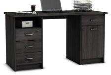 Mesa de estudio, ordenador, escritorio multimedia despacho 135cm, roble vulcano
