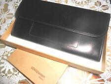 Porte papiers en cuir lisse noir LONGCHAMP France
