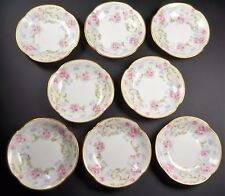 D & C Limoges Porcelain Set of Eight Butter Pats Roses Bernardaud & Co