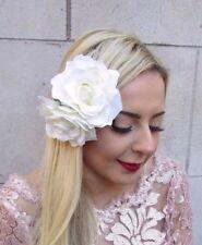 Large Double Ivory Cream Rose Flower Hair Clip 1950s Vintage Fascinator Big 4734