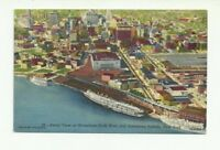 AERIAL VIEW AT WATERFRONT DOCK AREA & DOWNTOWN BUFFALO NEW YORK VINTAGE POSTCARD