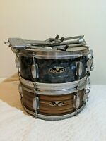 """Two 14"""" Vintage Coronet Snare Drums 1960's Blue  Tiger Shell W Ludwig Stand Rare"""