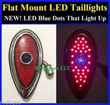 Flat Mount Blue Dot LED 1938-1939 Ford Tear Drop Taillights Hot Rod Rat Rod-Pair