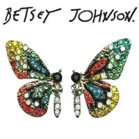 US Seller Betsey Johnson Multicolor Crystal Butterfly Stud Earrings Fashion