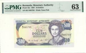 Bermuda $10 Dollars Currency Banknote 1997 PMG 63 CHOICE UNC