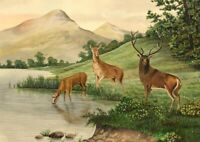 Allan Furniss, Red Deer & Stag by Loch – Original 1940s watercolour painting