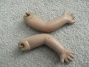 """Set of Vintage 1930s Composition Girl Doll Arms 4 1/2"""" Long #2"""