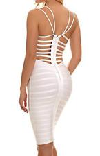 BCBG MaxAzria Contrast Bodycon Pencil Bandage Dress White Open back A118 **M