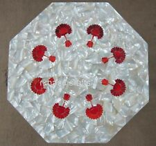 12 Inches Marble Patio Side Table Top MOP & Red Jasper Precious Stone End Table