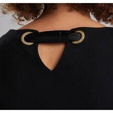 Barbour International Burnett Black Dress gold rivet strap back zip pockets midi